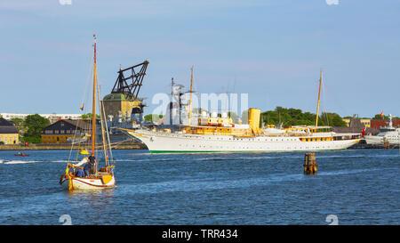 Copenhagen, denmark 06/02/2019 The view of the royal yacht Dannebrog - Stock Photo