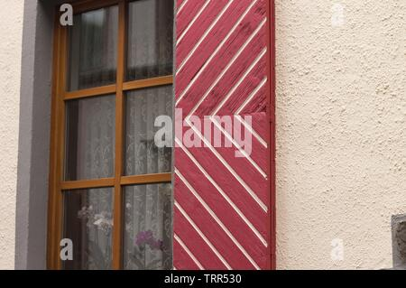 Typical german shutter of a wooden window (Moselkern, Germany, Europe) - Stock Photo