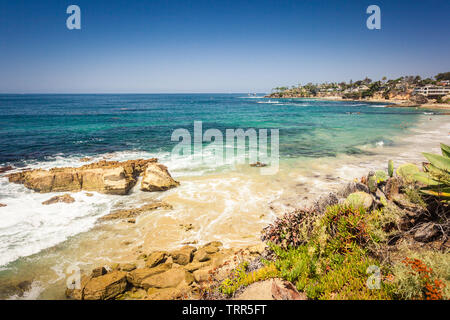 Laguna beach with rock in pacific ocean view from Heisler park - Stock Photo