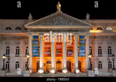 Lisbon, Portugal. Dona Maria II National Theatre in Dom Pedro IV Square aka Rossio by night. - Stock Photo