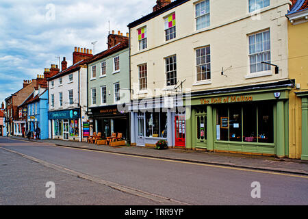 Delhi and shops, Malton, Food Capital of Yorkshire, North Yorkshire, England - Stock Photo