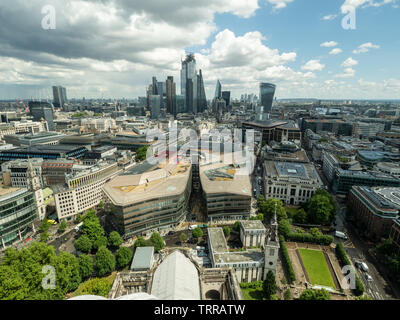 View from St Pauls Cathedra towards 'One New Change' roof, with skyscrapers in the distance, London, England. - Stock Photo