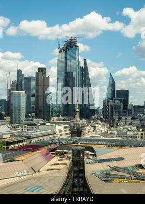 View from St Pauls Cathedra with 'One New Change' bottom & skyscrapers in the background, London, England. - Stock Photo