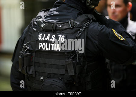 Bucharest, Romania - June 10, 2019: Details with the uniform and security kit of a Romanian SIAS (the service for special action of the Romanian Polic - Stock Photo