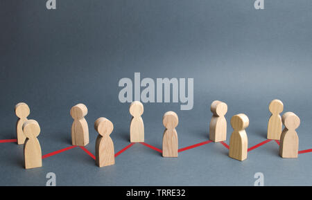 Chain of people figurines connected by red lines. Cooperation and interaction between people and employees. Dissemination of information in society, r - Stock Photo