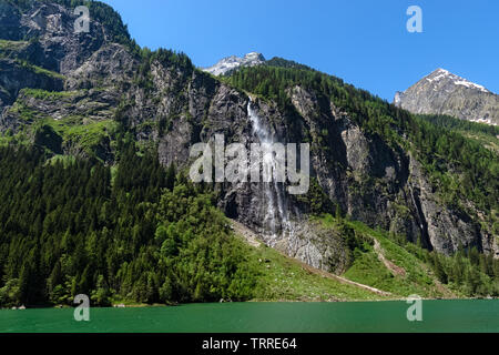 Panoramic view of the waterfall on the Lake Stillup in the Alps, Austria, Tyrol - Stock Photo