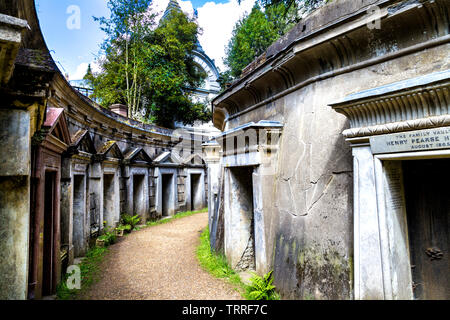 Egyptian and classical style row of tombs in the Circle of Lebanon at Highgate West Cemetery, London, UK - Stock Photo