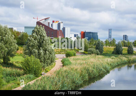 Stratford, East London UK, viewed from the Northern Parklands in the London Olympic Park in early summer - Stock Photo