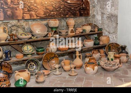 Moorish pottery on display at the Alcazaba, Malaga, Spain. - Stock Photo