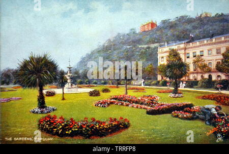 An early twentieth century picture postcard of The Gardens, Torquay. The gardens, named Princess Gardens, were designed by Major Garrett, the Borough Engineer and Surveyor, and opened in 1894. The Gardens were the first public gardens in Torquay created by the municipal authority. - Stock Photo