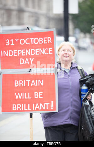 London, UK. 11th June 2019. Brexiteer outside the Houses of Parliament, UK, with two placards and her view of how Britain will be from 31st October. Credit: Joe Kuis / Alamy News - Stock Photo