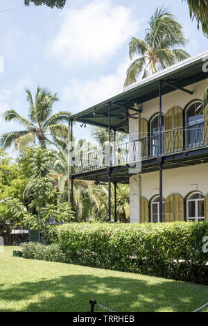 The exterior of the Ernest Hemingway House and Museum in Key West, Florida, USA - Stock Photo
