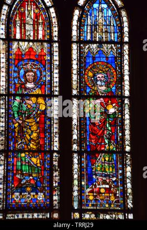 Stained glass in the Strasbourg cathedral in France - Stock Photo