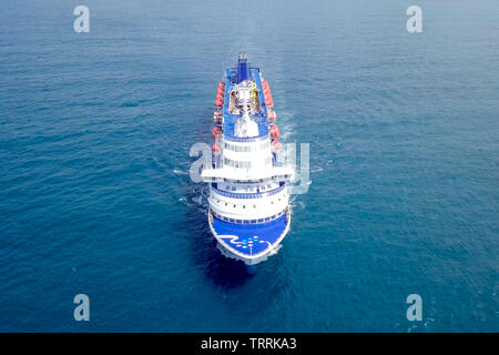 Large cruise ship at sea - Aerial image. - Stock Photo