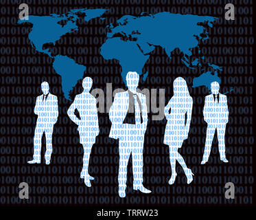 cyber business concept with business people and world map - Stock Photo