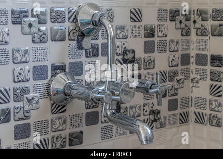 Tap in bathroom, closeup view - Stock Photo