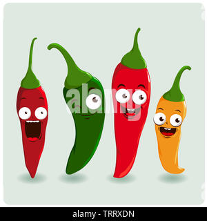 Four delicious and hot chili pepper characters in four colors:  red, green and yellow chili peppers. - Stock Photo
