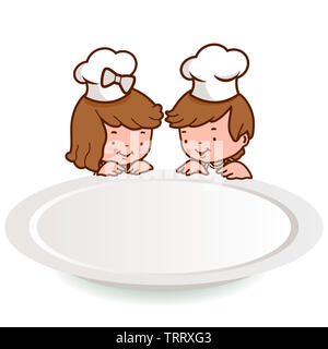 Illustration of a little girl and a little boy wearing chef hats and looking over at a blank dinner plate. - Stock Photo