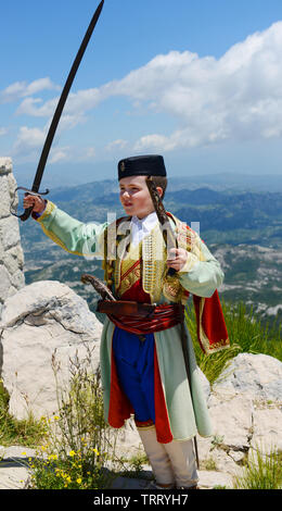 A Montenegrin boy dressed in traditional clothing. - Stock Photo
