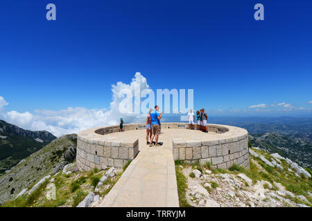The view point on top of the Jezerski vrh peak in Lovćen National Park in Montenegro. - Stock Photo