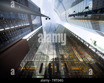 Skycrapers in the 'City' of London one of the leading centres of global finance in prospective from below. - Stock Photo