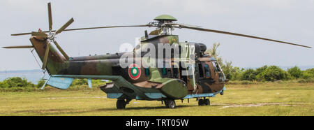 A Eurocopter AS532 Cougar Helicopter, part of the Bulgarian Air Force, lies parked on the helipad at the Bulgarian National Air Defence Training Centre prior to taking part in Operation SHABLA 19 June 11, 2019. SHABLA 19 is a bilateral, Joint Air Defense Live Fire exercise hosted by Bulgarian Armed Forces in Shabla, Bulgaria, from June 10-14, 2019. SHABLA 19 is a designed to improve readiness and interoperability between the Bulgarian Air Force, Navy and Land Forces, and the 10th Army Air and Missile Defense Command, U.S. Army Europe. (U.S. Army Photo by Sgt. Robert Douglas) - Stock Photo