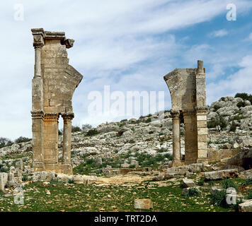 Syria. Aleppo. Church of Saint Simeon Stylites. Remains of the old door. Byzantine style. Historical photography (taken before the Syrian Civil War). - Stock Photo