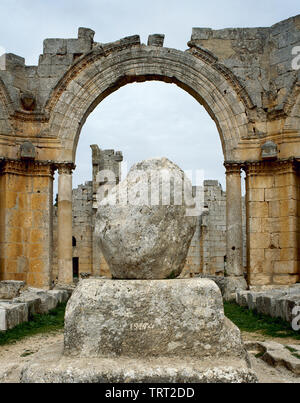Syria. Aleppo. Church of Saint Simeon Stylites. It was built on the site of the pillar of St. Simeon Stylites. Byzantine style. Remains of the pillar. Mount Simeon. Historical photography (taken before the Syrian Civil War). - Stock Photo