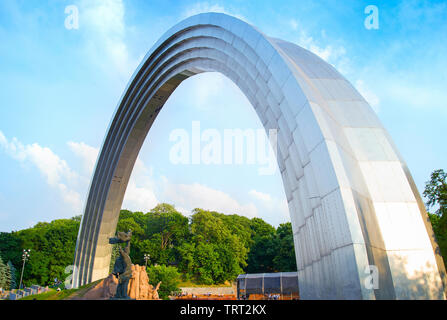 The People's Friendship Arch is a monument in Kiev, Ukraine. - Stock Photo