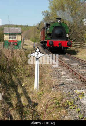 Steam train, passenger carriages and signal box at Beamish Open Air Museum. Northern England - Stock Photo