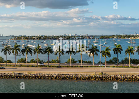 Miami, FL, United States - April 20, 2019:  View of MacArthur Causeway and Venetian Islands at Biscayne Bay in Miami, Florida, United States of Americ
