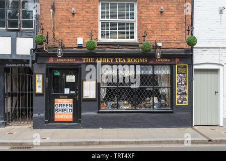 The Abbey Tea Rooms on Church Street, Tewkesbury, Gloucestershire, UK - Stock Photo
