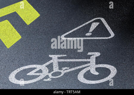 Bicycle lane sign on asphalt road. Concept of biking safety and active lifestyle. 3D perspective view at night time - Stock Photo