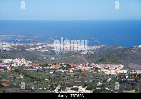 Viewpoint from  the peak Pico de Bandama on the Capital city Las Palmas on Gran Canaria - Stock Photo
