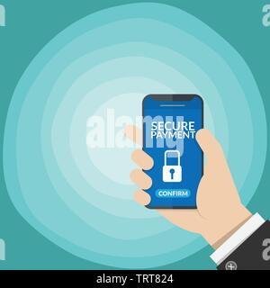 secure payment notification with key lock symbol in a smart phone screen on business man's hand isolated on gradient blue background. vector illustrat - Stock Photo