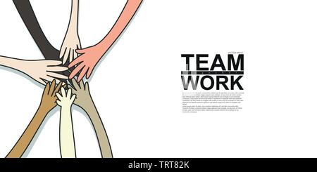 unity and teamwork concept. young multi nationality people putting their hands stack together. vector illustration, flat design - Stock Photo