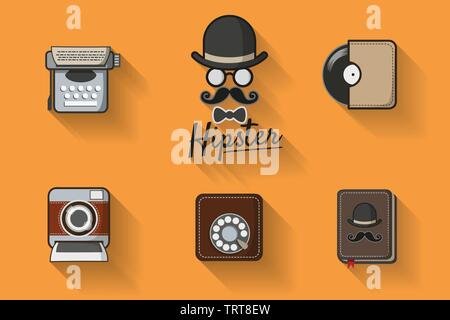 Hipster with mustache. Hipster icon vector theme set with vintage analog dial phone, record,  instant camera and typewriter. Vintage style for hipster - Stock Photo