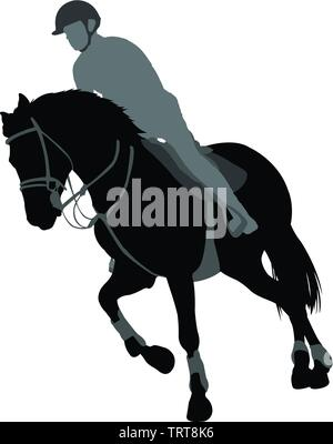 horse riding,equestrian sport silhouette - vector - Stock Photo