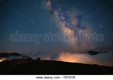 Milky Way Galaxy Gomi Mountain above, Guria, Georgia - Stock Photo