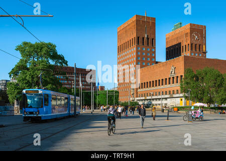 Oslo Norway, view across Oslo City Square (Radhusplassen) towards the City Hall building (Radhus) in the Aker Brygge area of Oslo, Norway. - Stock Photo