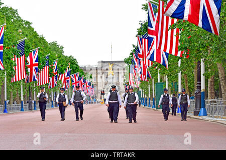 London, England, UK. Metropolitan Police officers on duty around The Mall during Donald Trump's State Visit, 3rd June 2019 - Stock Photo