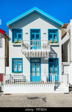 Palheiros typical houses, Costa Nova Beach, Aveiro, Venice of Portugal, Beira Littoral, Portugal - Stock Photo