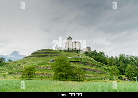 Balzers, FL / Liechtenstein - 9 June 2019: view of the historic Gutenberg Castle in the village of Balzers in the  Liechtenstein - Stock Photo