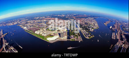 Aerial of the north part of Amsterdam the Netherlands - Stock Photo