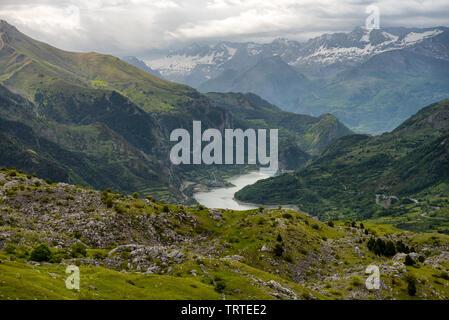 view of Lanuza Reservoir in Valle de Tena, Huesca, Spain - Stock Photo