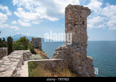 Ruins of castle in Pythagorion city on Samos island in the Aegean Sea, Greece - Stock Photo