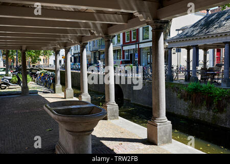 View on the Visbank on the Hoge Gouwe, Gouda, Netherlands - Stock Photo
