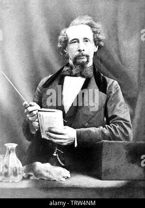 CHARLES DICKENS (1812-1870) English novelist giving a lecture about 1858 - Stock Photo