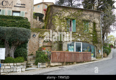Mougins, France - April 03, 2019: Mougins is a commune in southeastern France that is a great place of tourist attractions and it has many art galleri