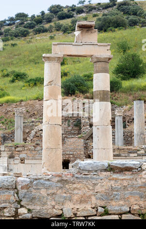The Temple of Isis in the upper Agora of the ancient city of Ephesus in Turkey. A world heritage site. - Stock Photo